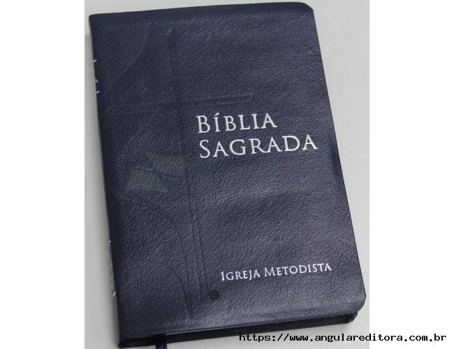 Bíblia com a Cruz e Chama - Capa Azul
