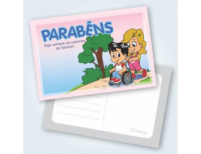 Cartão Parabéns Aventureiros - Pacote com 25 unidades