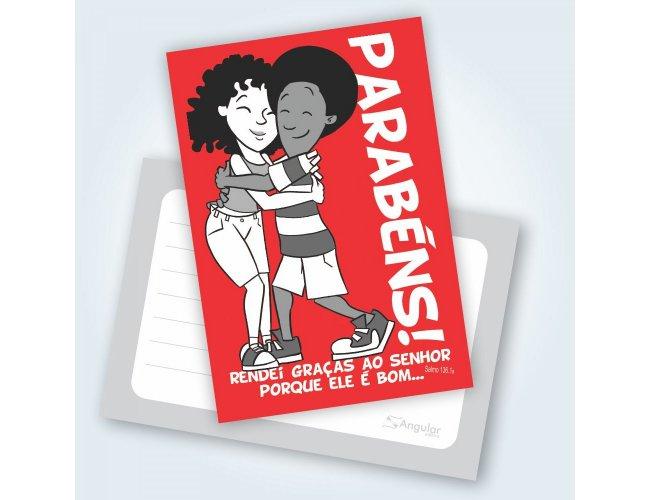 Cartão Parabéns Téo e Letícia - Pacote com 25 unidades