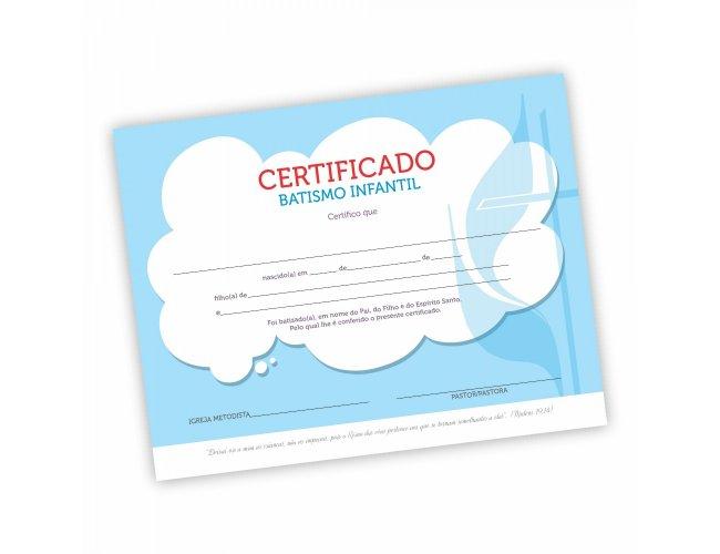 Certificado Batismo Infantil - Pacote com 50 unidades