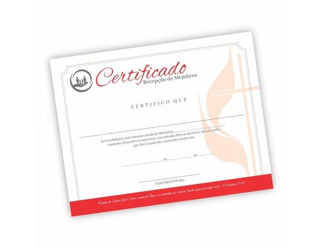 Certificado Recepção de Membros - Pacote com 50 unidades